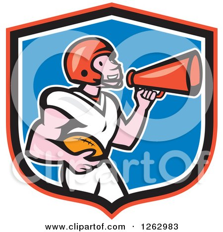 Clipart Of A Cartoon Male American Football Player Announcing With A Megaphone In A Shield Royalty Free Vector Illustration