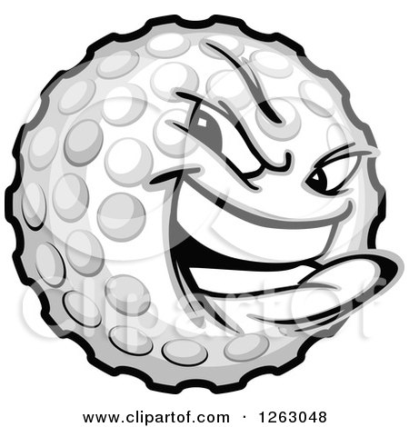 Clipart of a Tough Golf Ball Mascot - Royalty Free Vector Illustration by Chromaco
