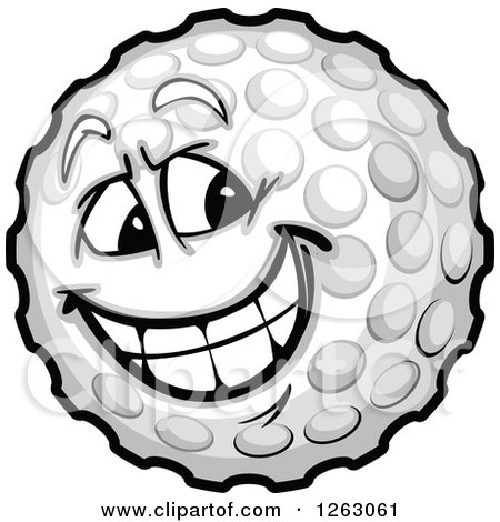 Clipart of a Golf Ball Mascot - Royalty Free Vector Illustration by Chromaco