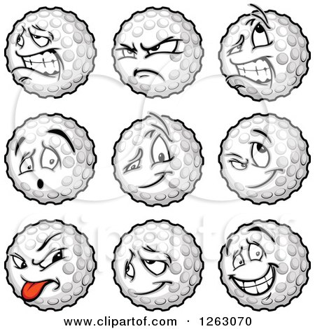Clipart of Golf Ball Mascots - Royalty Free Vector Illustration by Chromaco