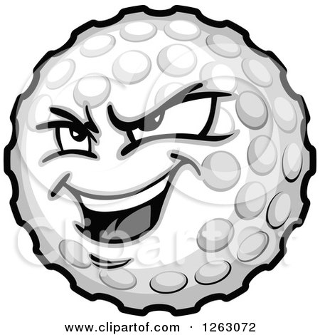 Clipart Of A Tough Golf Ball Mascot Royalty Free Vector Illustration
