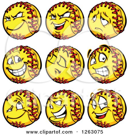 Clipart of Softball Mascots - Royalty Free Vector Illustration by Chromaco