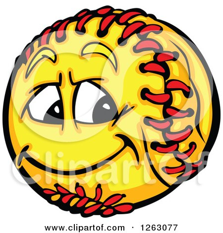 Clipart of a Softball Mascot - Royalty Free Vector Illustration by Chromaco