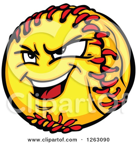 Clipart of a Tough Softball Mascot - Royalty Free Vector Illustration by Chromaco