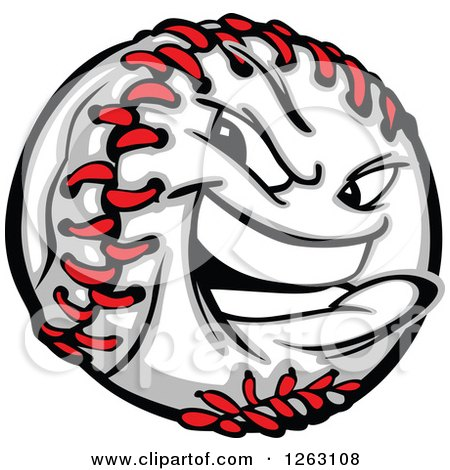 Clipart of a Tough Baseball Mascot - Royalty Free Vector Illustration by Chromaco