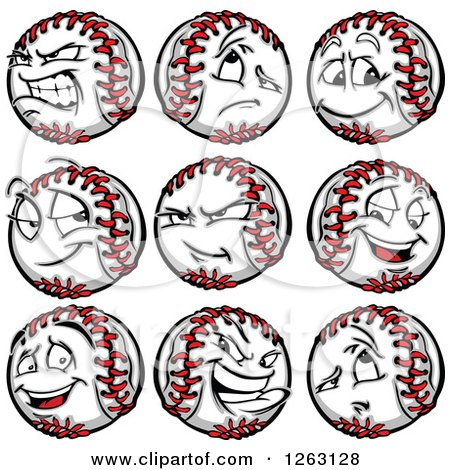 Clipart of Baseball Mascots - Royalty Free Vector Illustration by Chromaco
