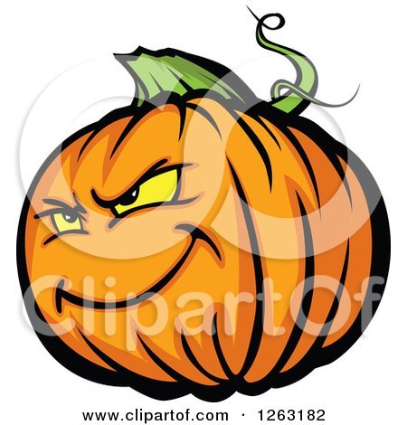 Clipart of a Tough Halloween Pumpkin Character - Royalty Free Vector Illustration by Chromaco