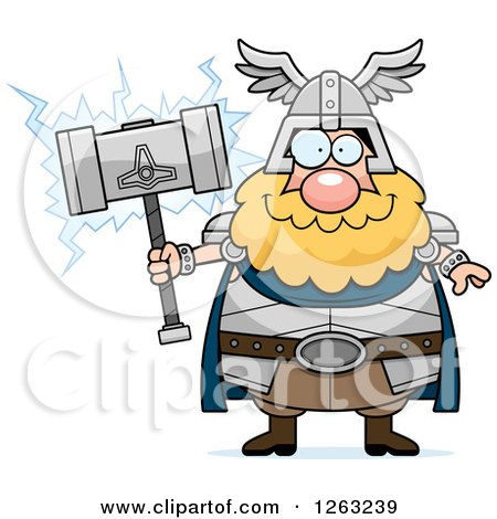 Clipart of a Cartoon Happy Chubby Thor Holding a Hammer - Royalty Free Vector Illustration by Cory Thoman