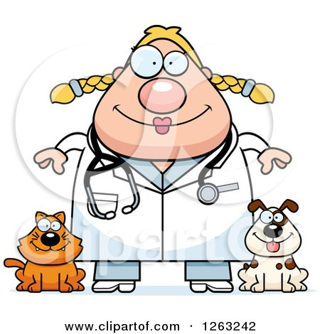 Clipart of a Cartoon Happy Chubby Blond White Female Veterinarian with a Cat and Dog - Royalty Free Vector Illustration by Cory Thoman