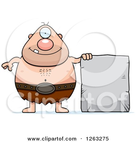 Clipart of a Cartoon Happy Cyclops Man with a Stone Tablet - Royalty Free Vector Illustration by Cory Thoman