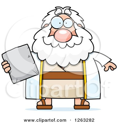Clipart of a Cartoon Happy Chubby Moses Holding a Tablet - Royalty Free Vector Illustration by Cory Thoman
