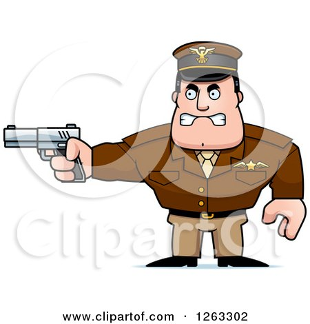 Clipart of a Caucasian Male Pilot Captain Aiming a Gun - Royalty Free Vector Illustration by Cory Thoman