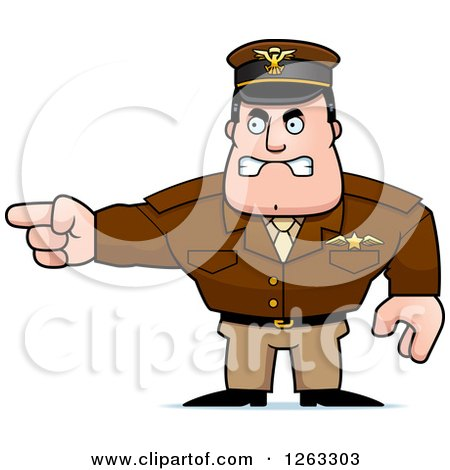 Clipart of a Caucasian Male Pilot Captain Pointing - Royalty Free Vector Illustration by Cory Thoman