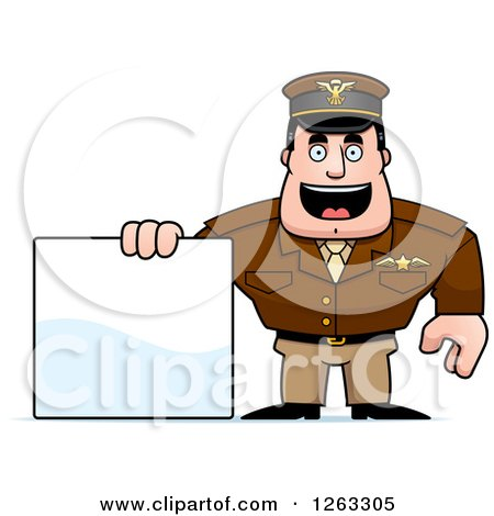 Clipart of a Caucasian Male Pilot Captain with a Blank Sign - Royalty Free Vector Illustration by Cory Thoman