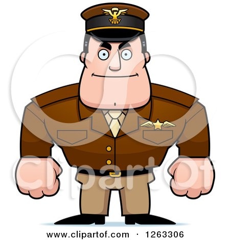 Clipart of a Caucasian Male Pilot Captain - Royalty Free Vector Illustration by Cory Thoman