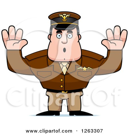 Clipart of a Caucasian Male Pilot Captain Surrendering - Royalty Free Vector Illustration by Cory Thoman