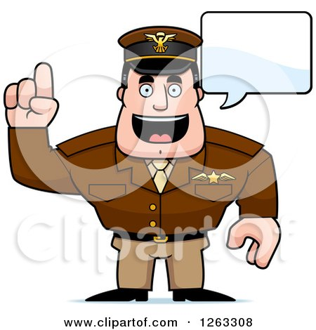 Clipart of a Caucasian Male Pilot Captain Talking - Royalty Free Vector Illustration by Cory Thoman