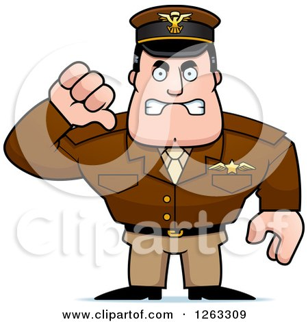 Clipart of a Mad Caucasian Male Pilot Captain Holding a Thumb down - Royalty Free Vector Illustration by Cory Thoman