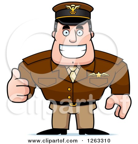 Clipart of a Happy Caucasian Male Pilot Captain Holding a Thumb up - Royalty Free Vector Illustration by Cory Thoman