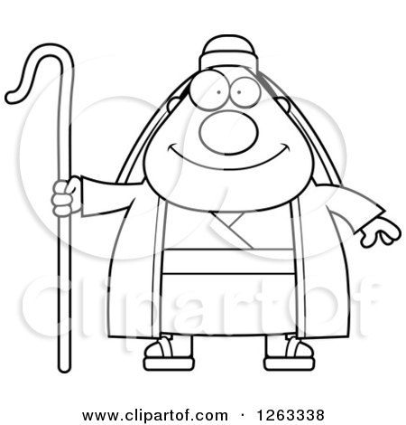 Clipart of a Cartoon Chubby Loving Male Shepherd with Open Arms and