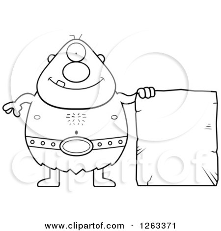 Clipart of a Black and White Cartoon Happy Cyclops Man with a Stone Tablet - Royalty Free Vector Illustration by Cory Thoman