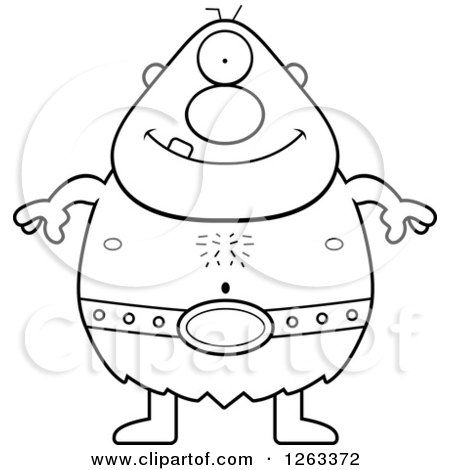 Clipart of a Black and White Cartoon Happy Cyclops Man - Royalty Free Vector Illustration by Cory Thoman