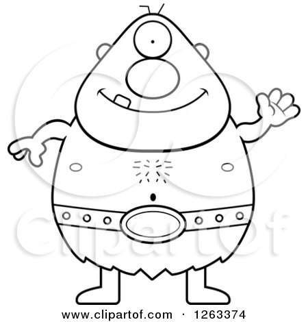Clipart of a Black and White Cartoon Friendly Waving Cyclops Man - Royalty Free Vector Illustration by Cory Thoman