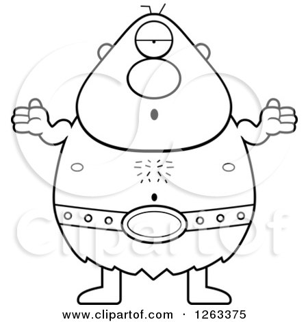 Clipart of a Black and White Cartoon Careless Shrugging Cyclops Man - Royalty Free Vector Illustration by Cory Thoman