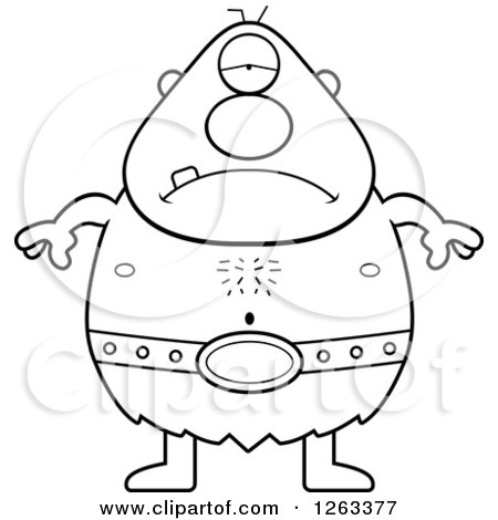 Clipart of a Black and White Cartoon Sad Depressed Cyclops Man - Royalty Free Vector Illustration by Cory Thoman