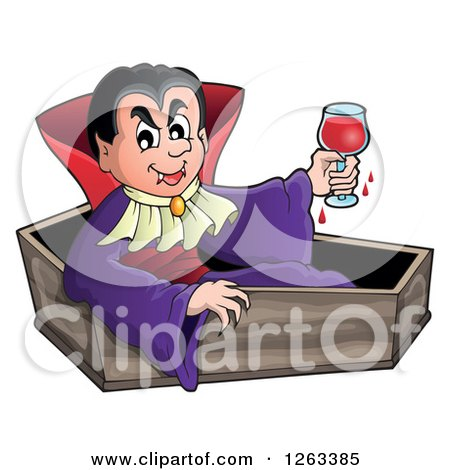 Clipart of a Dracula Vampire Sitting in a Coffin with a Glass of Blood - Royalty Free Vector Illustration by visekart