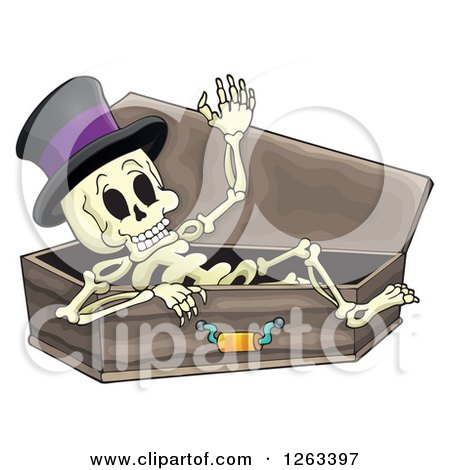 Clipart of a Skeleton Wearing a Top Hat and Resting in a Coffin - Royalty Free Vector Illustration by visekart