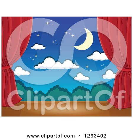 Clipart of a Spotlight Shining down on a Stage with a Night Backdrop and Red Curtains - Royalty Free Vector Illustration by visekart