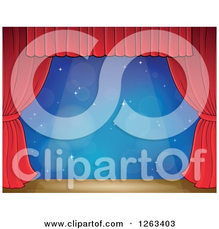 Clipart of a Spotlight Shining down on a Stage with a Blue Backdrop and Red Curtains - Royalty Free Vector Illustration by visekart