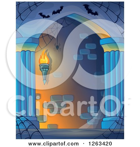Clipart of a Haunted Hall with Spider Webs and Bats - Royalty Free Vector Illustration by visekart