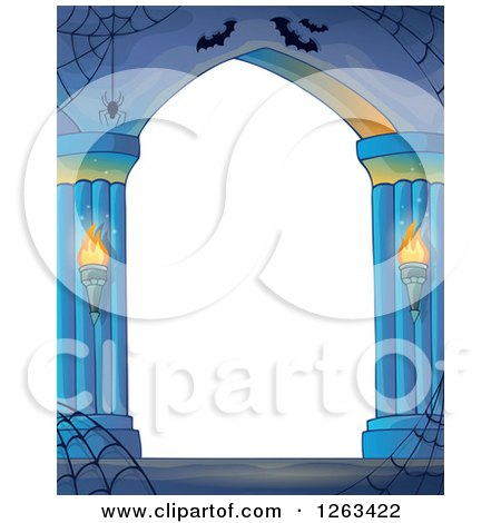 Clipart of a Haunted Archway with Spider Webs and Bats - Royalty Free Vector Illustration by visekart