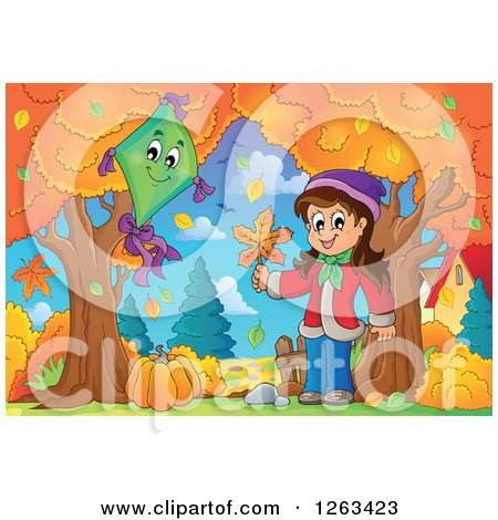 Clipart of a Happy White Girl Holding an Autumn Leaf by a Kite - Royalty Free Vector Illustration by visekart