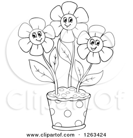 Clipart of a Black and White Pot with Happy Flowers - Royalty Free Vector Illustration by visekart