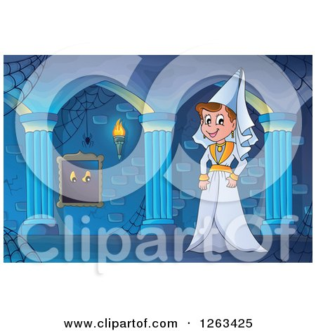 Clipart of a Medieval Lady in a Haunted Hallway - Royalty Free Vector Illustration by visekart