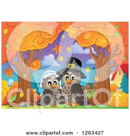 Clipart of a Happy Thanksgiving Owl Couple Under Autumn Trees - Royalty Free Vector Illustration by visekart