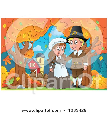 Clipart of a Happy Thanksgiving Pilgrim Couple by an Autumn Farm - Royalty Free Vector Illustration by visekart