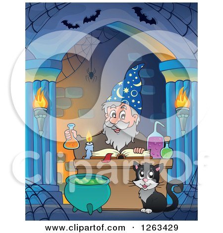 Clipart of a Cat and Wizard Making a Spell in an Alcove - Royalty Free Vector Illustration by visekart