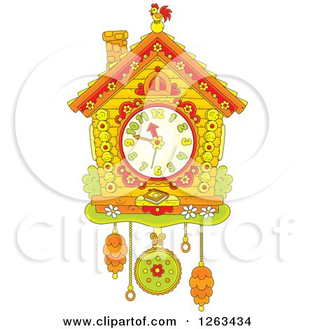 Clipart of a Cuckoo Clock - Royalty Free Vector Illustration by Alex Bannykh