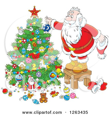 Clipart of Santa Standing on a Stool and Decorating a Christmas Tree - Royalty Free Vector Illustration by Alex Bannykh