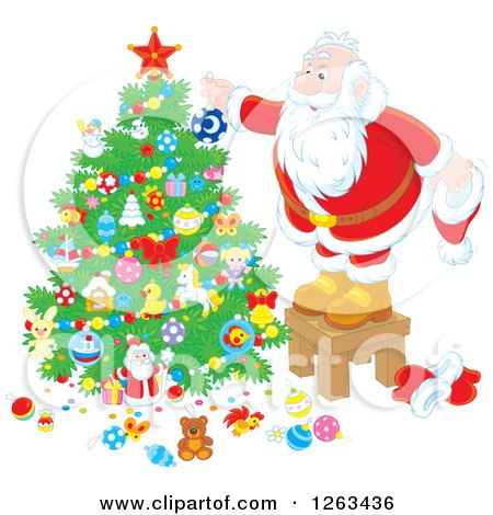 Clipart of Santa Trimming a Christmas Tree - Royalty Free Vector Illustration by Alex Bannykh