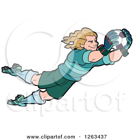 Clipart of a Blond White Male Soccer Player Goal Keeper Leaping - Royalty Free Vector Illustration by Frisko
