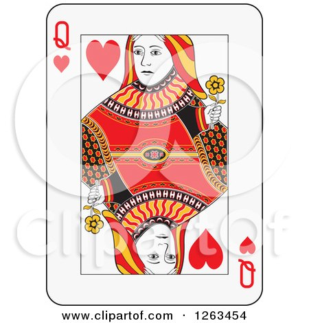 Clipart of a Queen of Hearts Playing Card - Royalty Free Vector Illustration by Frisko