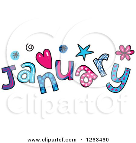 Clipart of Colorful Sketched Month of January Text - Royalty Free Vector Illustration by Prawny