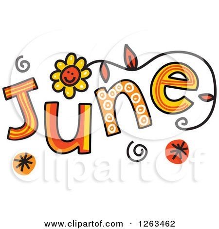 Clipart of Colorful Sketched Month of June Text - Royalty Free Vector Illustration by Prawny
