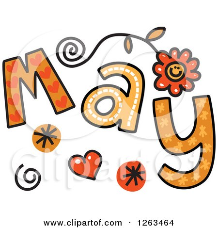 Clipart of Colorful Sketched Month of May Text - Royalty Free Vector Illustration by Prawny