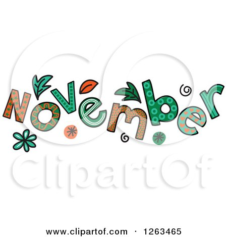 Clipart of Colorful Sketched Month of November Text - Royalty Free Vector Illustration by Prawny